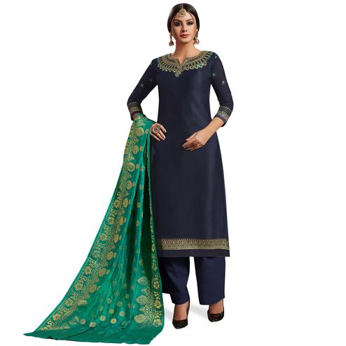 Navy Blue Colored Partywear Embroidered Satin-Georgette Palazzo Suit With Banarasi Silk Dupatta