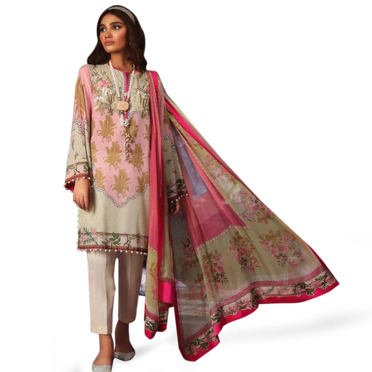 Refreshing Multi Colored Partywear Embroidered Cotton Suit