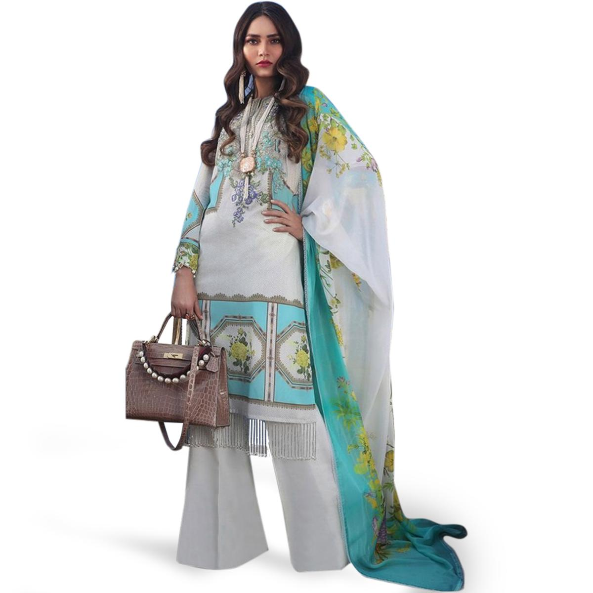 Hypnotic Off White-Blue Colored Partywear Embroidered Cotton Palazzo Suit