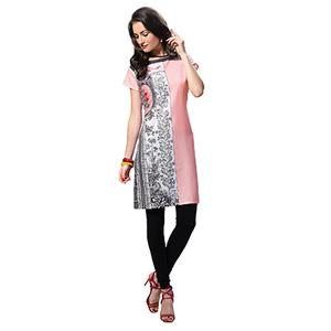 Pink Regular Wear Printed Kurti