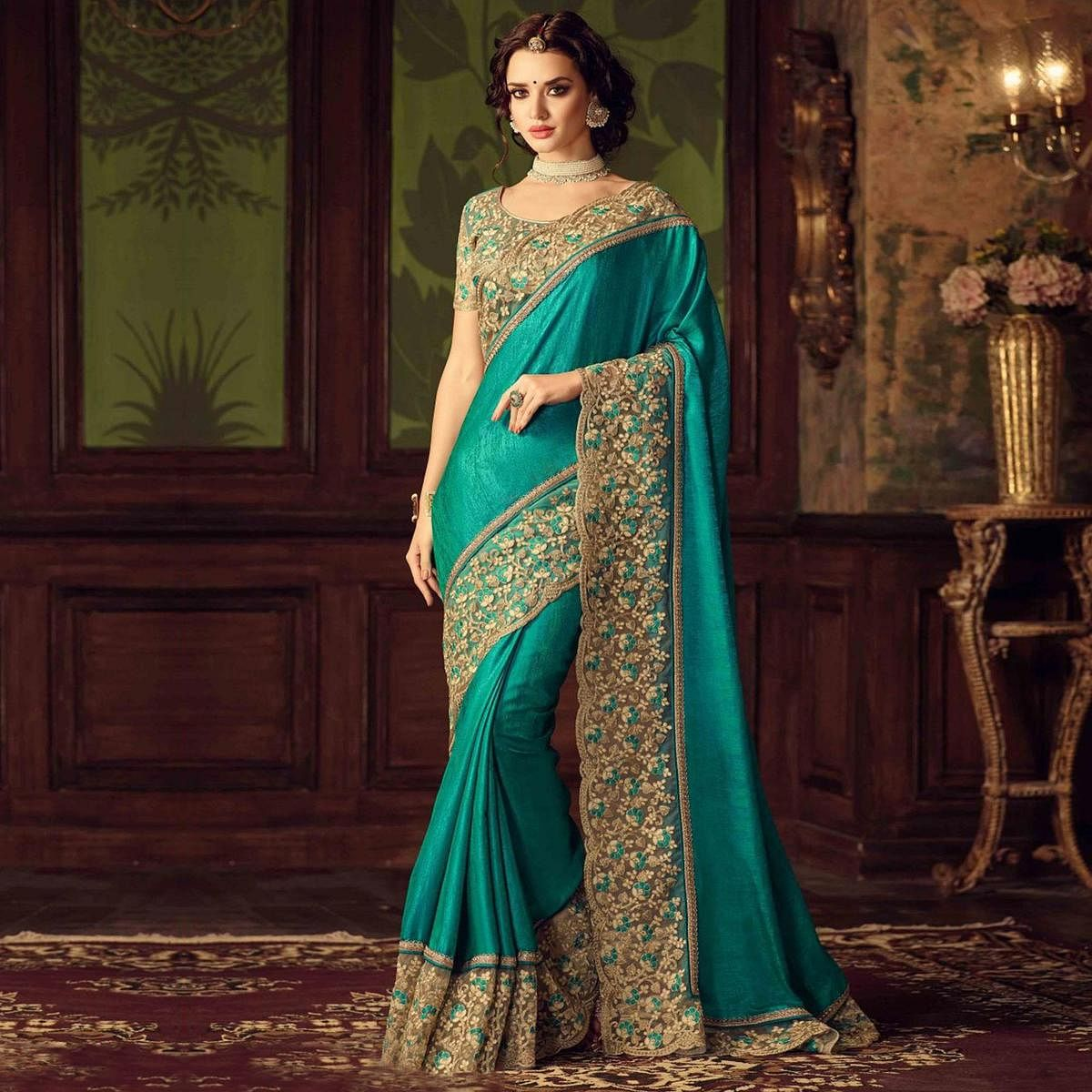 Dark Green Designer Partywear Embroidered Paper Silk Saree