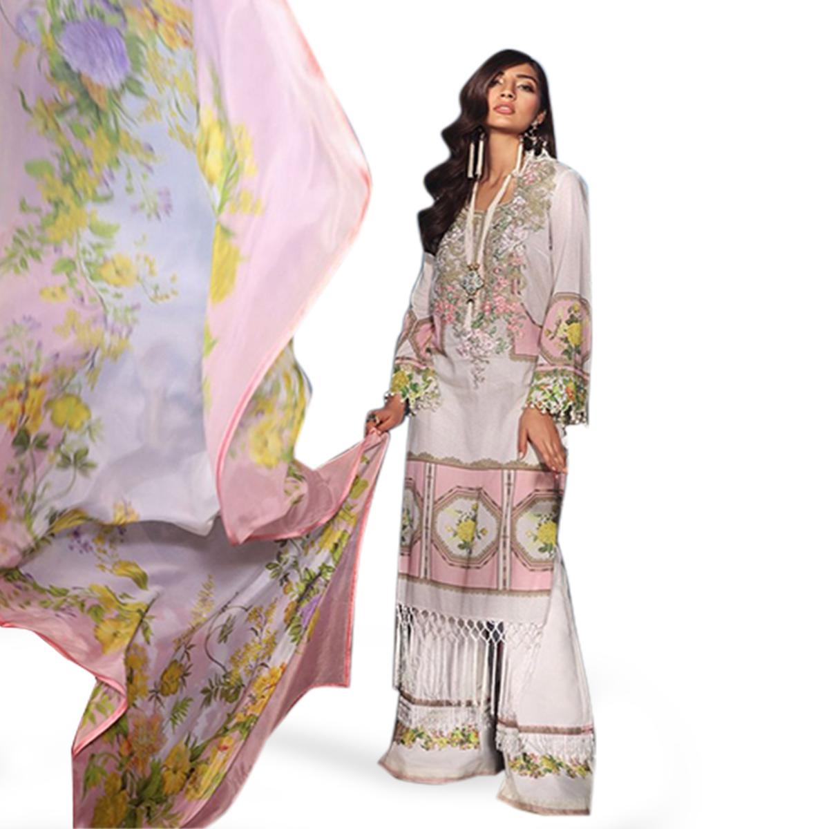 Flattering Off White-Pink Colored Partywear Embroidered Cotton Palazzo Suit