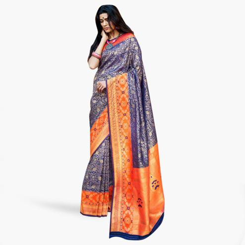 Prominent Blue-Orange Colored Festive Wear Woven Silk Saree