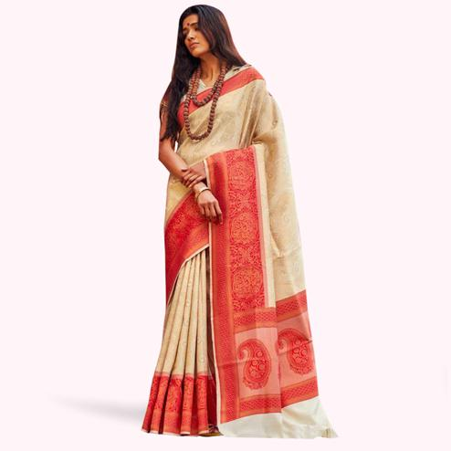 Entrancing Off White Colored Festive Wear Woven Silk Saree