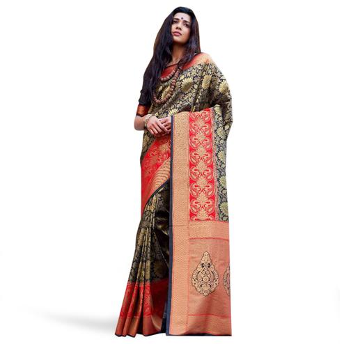 Appealing Black Colored Festive Wear Woven Silk Saree