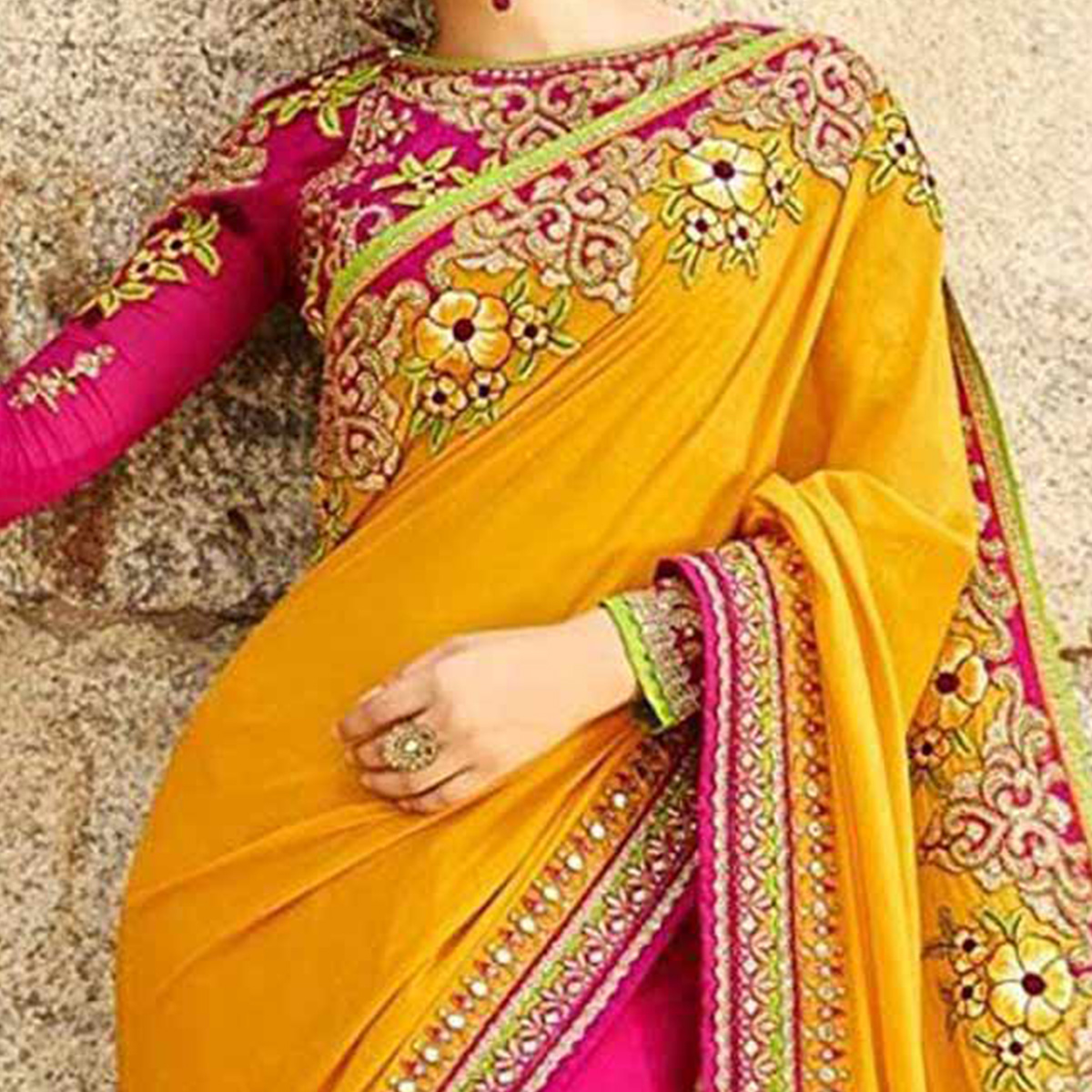 Yellow And Pink Designer Partywear Embroidered Georgette Saree