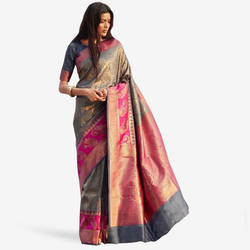 Intricate Gray Colored Festive Wear Woven Silk Saree