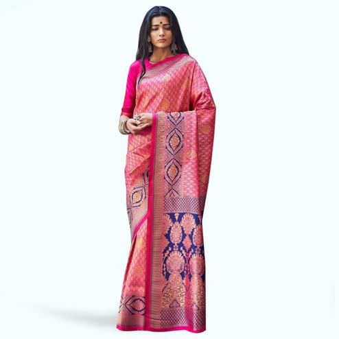 Arresting Pink Colored Festive Wear Woven Silk Saree