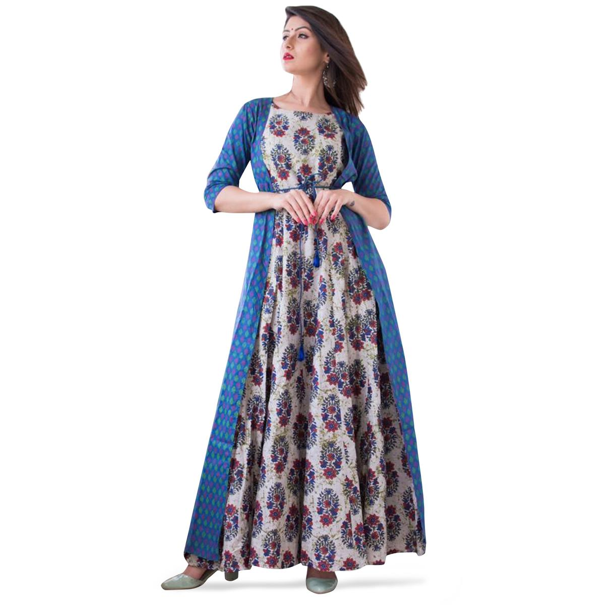 Mesmeric Blue-Multi Colored Partywear Printed Muslin Jacket Style Gown