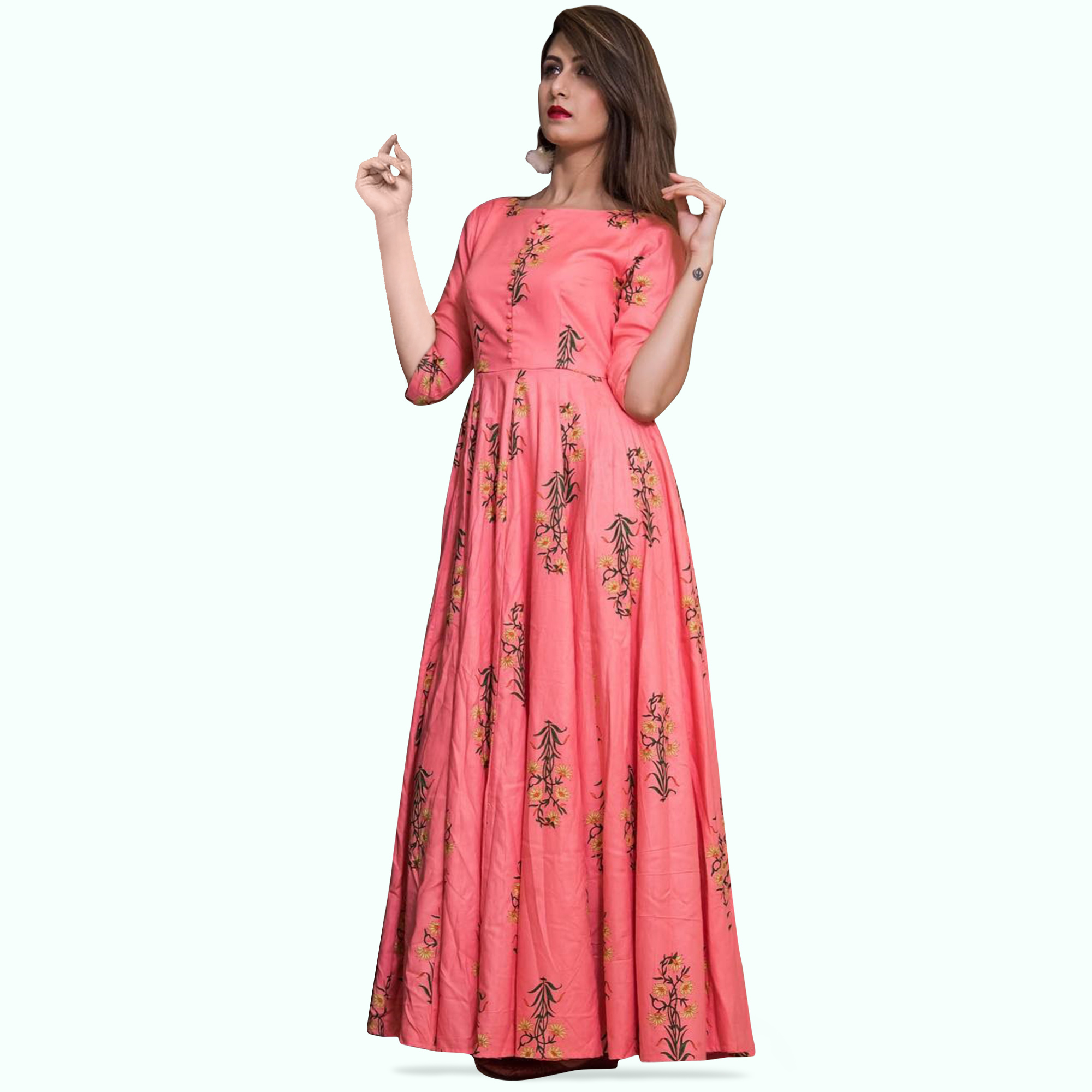Demanding Pink Colored Partywear Printed Muslin Gown