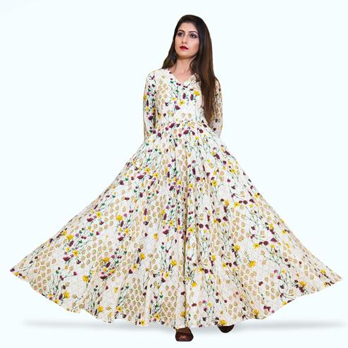 Refreshing Cream Colored Partywear Printed Muslin Gown