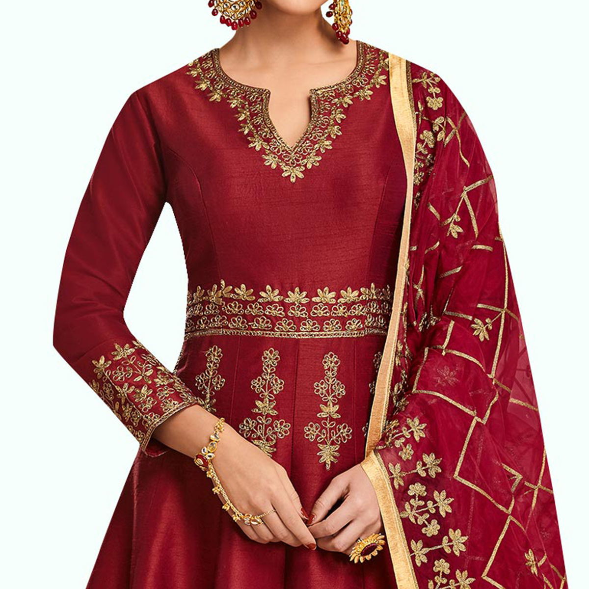 Amazing Maroon Colored Partywear Embroidered Mulberry Silk Anarkali Suit