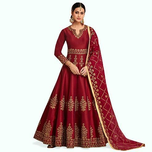 694ea86c3b9 Amazing Maroon Colored Partywear Embroidered Mulberry Silk Anarkali Suit