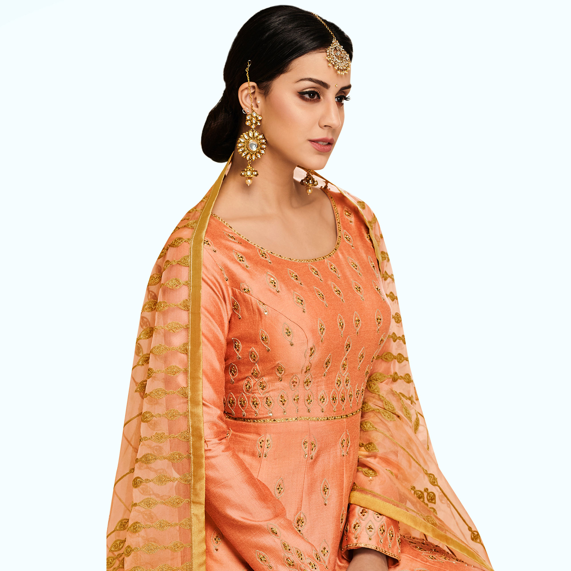 Gorgeous Peach Colored Partywear Embroidered Mulberry Silk Anarkali Suit