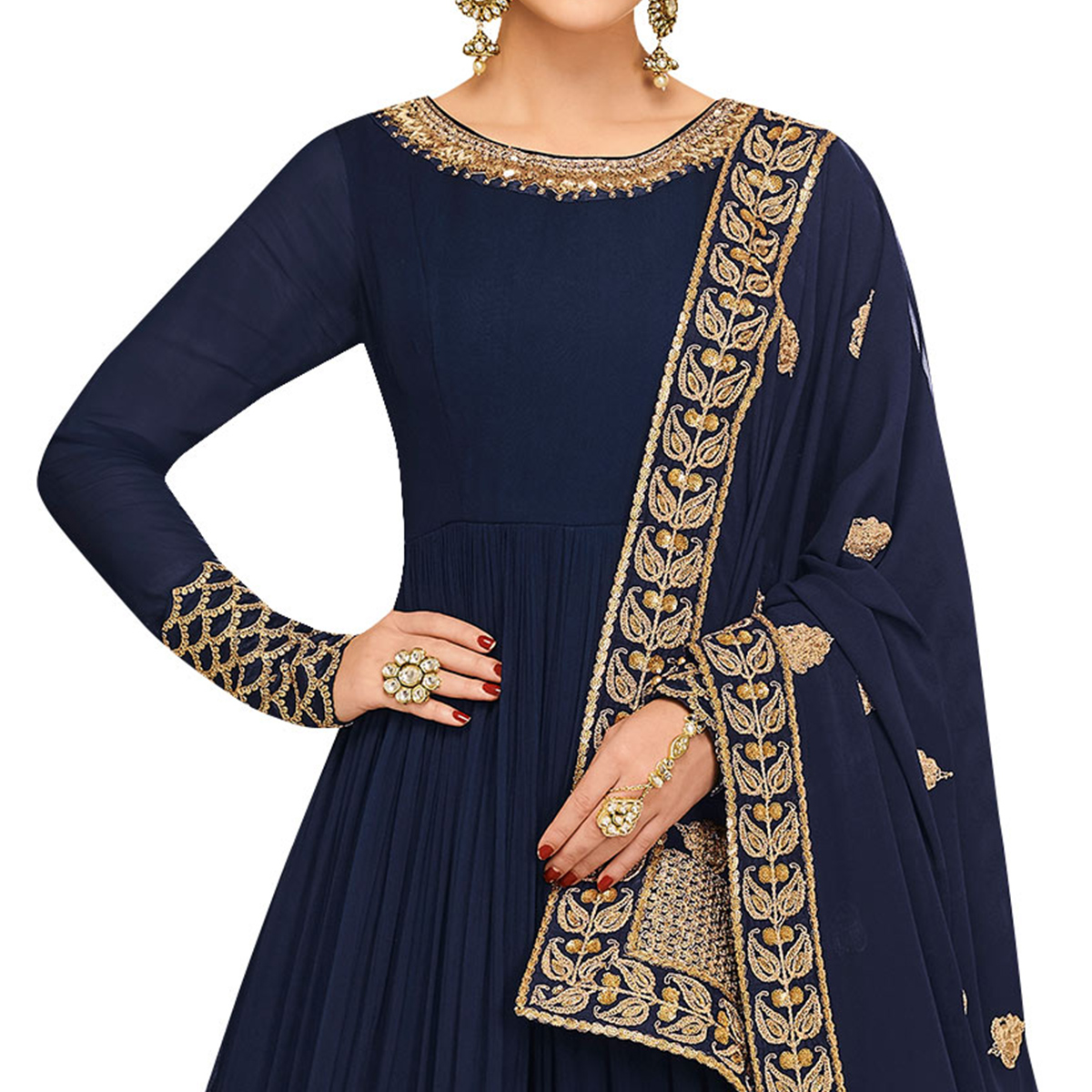 Appealing Navy Blue Colored Partywear Embroidered Mulberry Silk Anarkali Suit