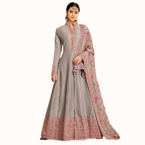 Hypnotic Gray Colored Partywear Embroidered Satin Silk Anarkali Suit