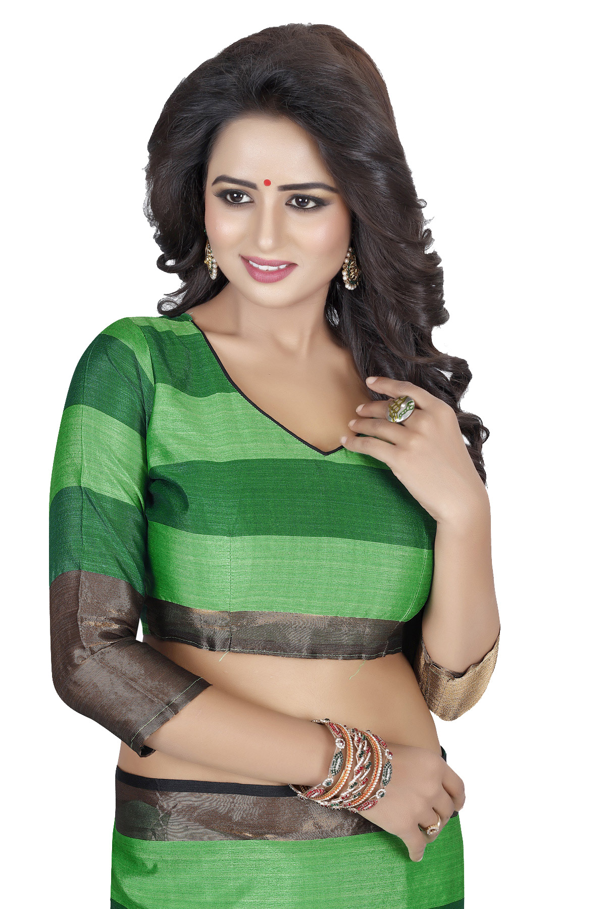 Georgeous Green Poly Cotton Casual Saree