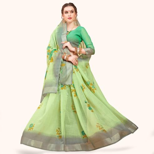 Elegant Pastel Green Colored Casual Printed Linen Saree