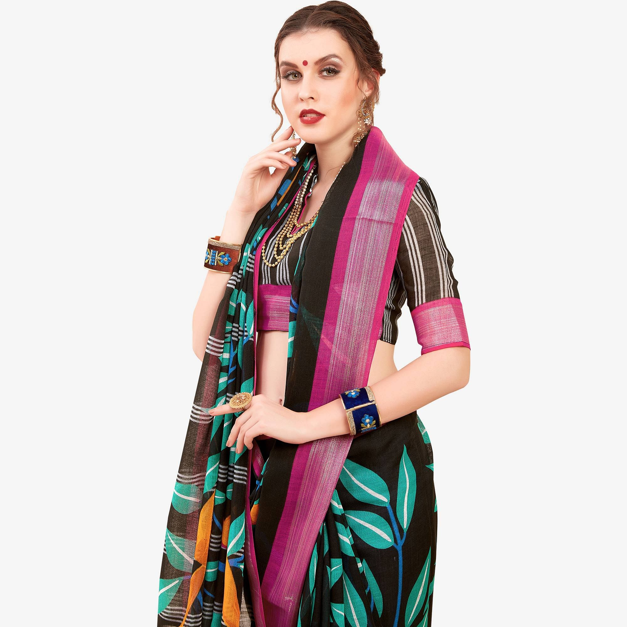 Radiant Black Colored Casual Printed Linen Saree