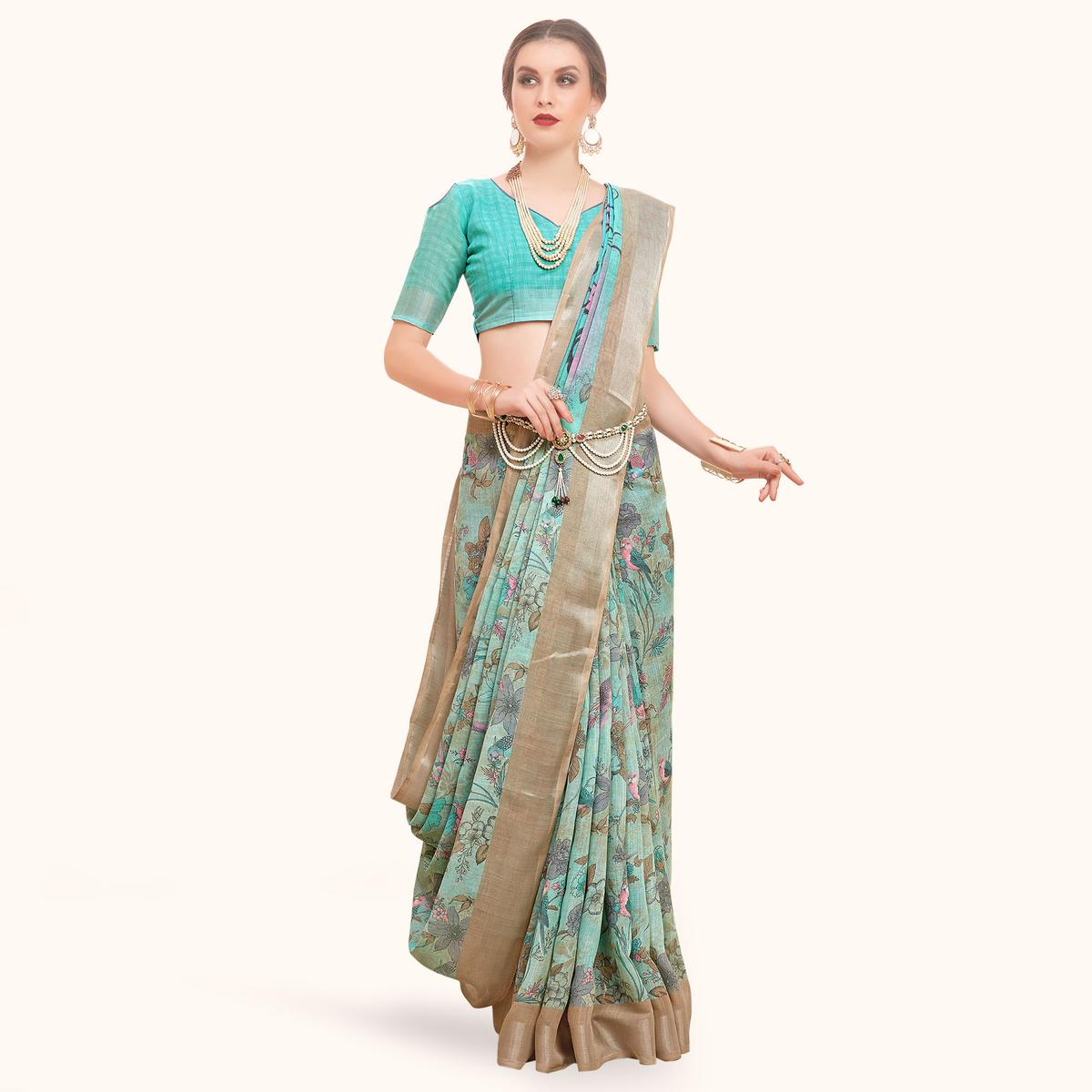 Opulent Aqua Blue Colored Casual Printed Linen Saree