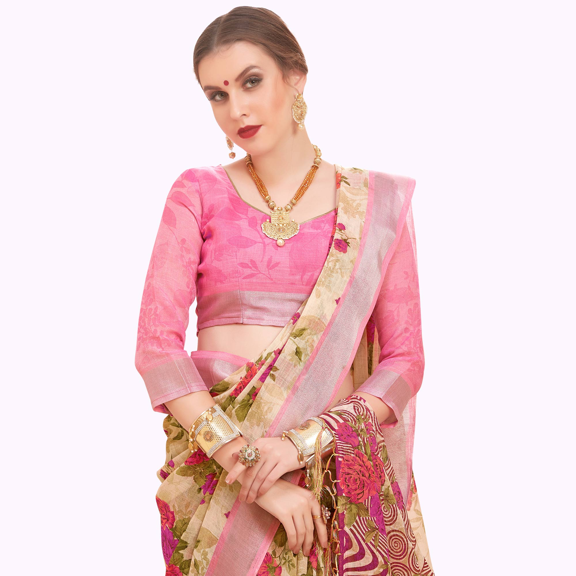 Energetic Cream-Pink Colored Casual Printed Linen Saree