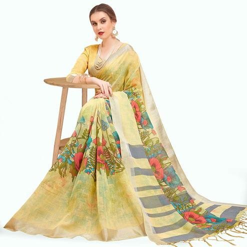 Glowing Yellow Colored Casual Printed Linen Saree