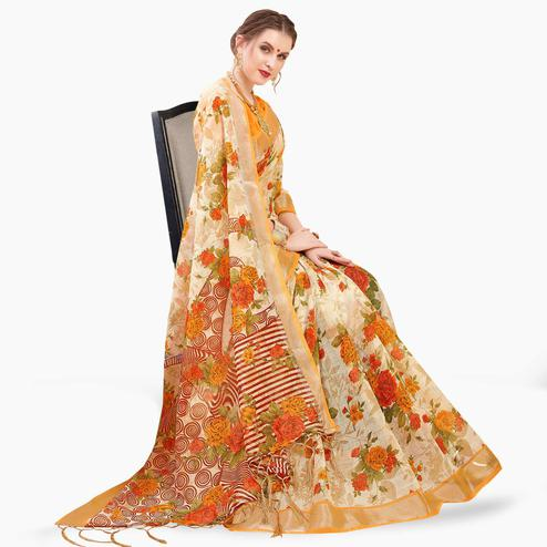 Exceptional Cream-Orange Colored Casual Printed Linen Saree