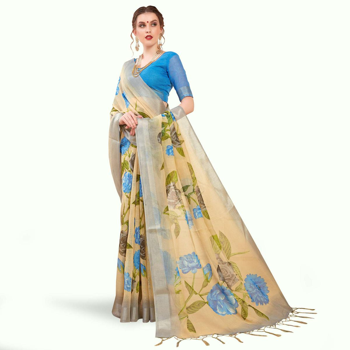 Gleaming Cream Colored Casual Printed Linen Saree