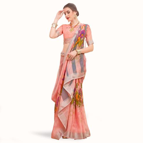 Mesmeric Pink Colored Casual Printed Linen Saree