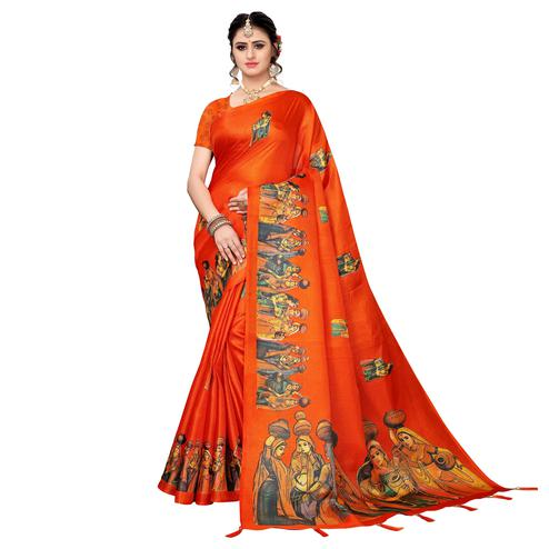 Ravishing Orange Colored Festive Wear Khadi Silk Saree