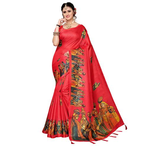 Staring Red Colored Festive Wear Khadi Silk Saree