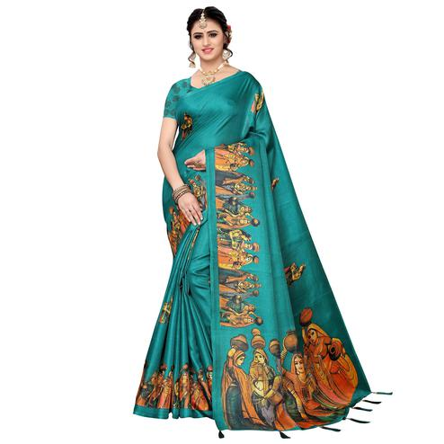 Dazzling Turquoise Green Colored Festive Wear Khadi Silk Saree