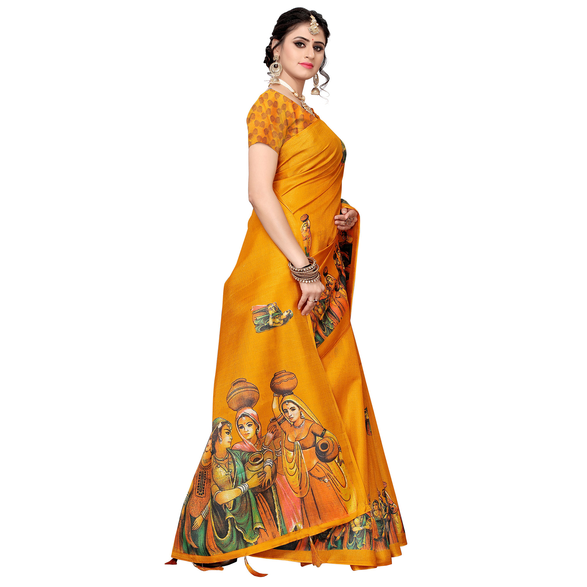 Surpassing Light Orange Colored Festive Wear Khadi Silk Saree