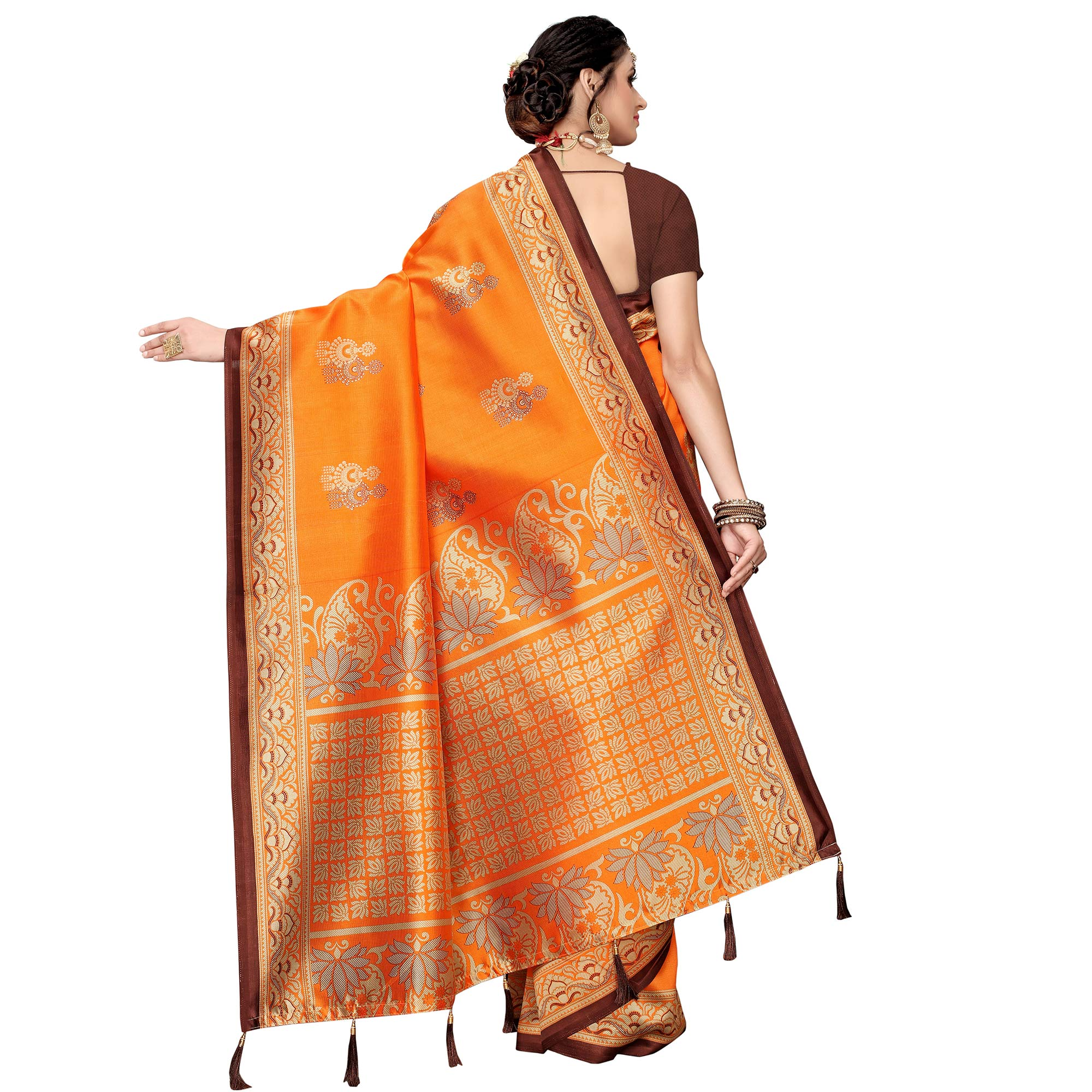 Glowing Orange Colored Festive Wear Printed Art Silk Saree