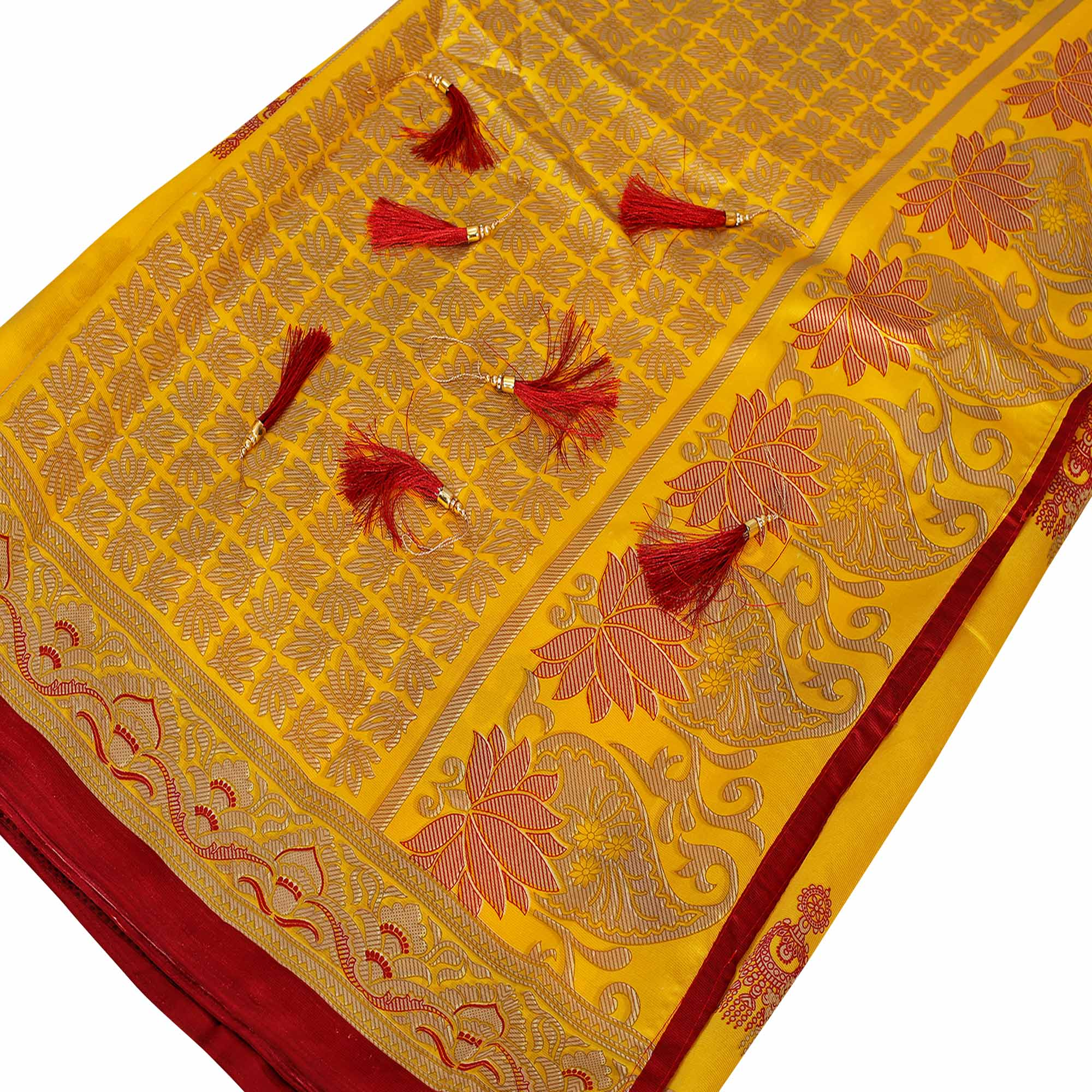 Exceptional Yellow Colored Festive Wear Printed Art Silk Saree