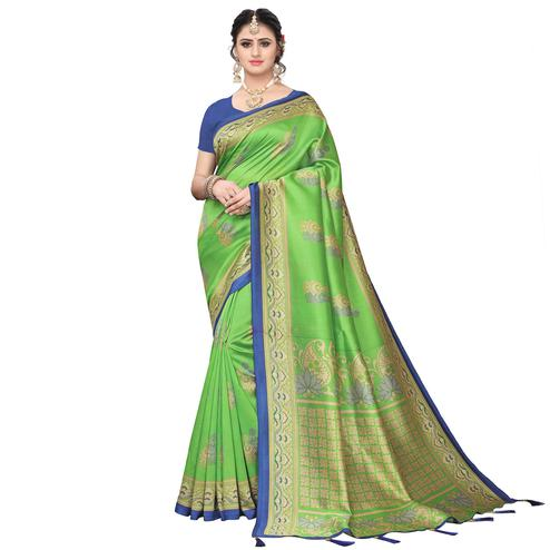 Gleaming Green Colored Festive Wear Printed Art Silk Saree