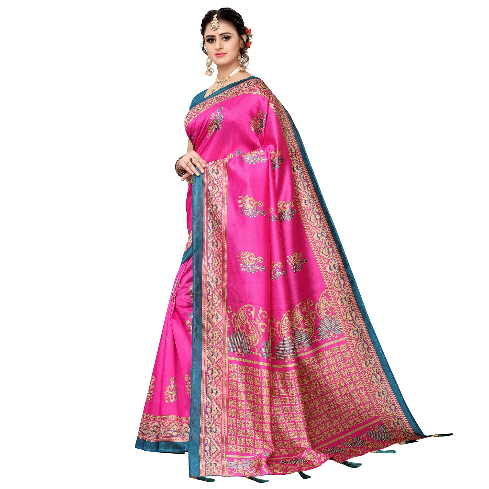 Mesmeric Pink Colored Festive Wear Printed Art Silk Saree