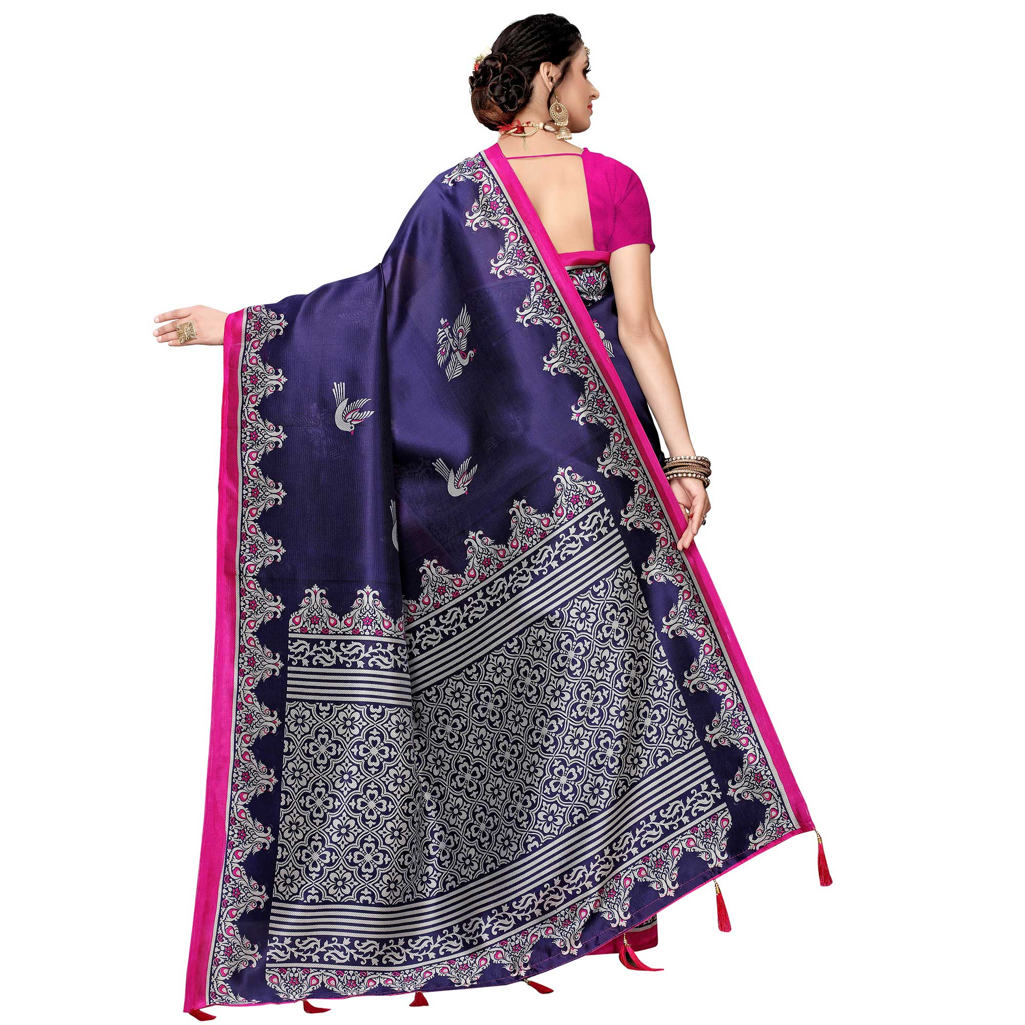 Unique Navy Blue Colored Festive Wear Printed Art Silk Saree