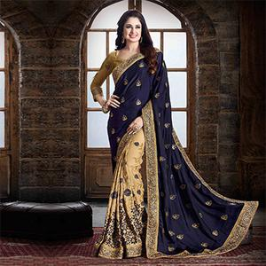Navy Blue And Cream Designer Partywear Embroidered Chinnon Saree
