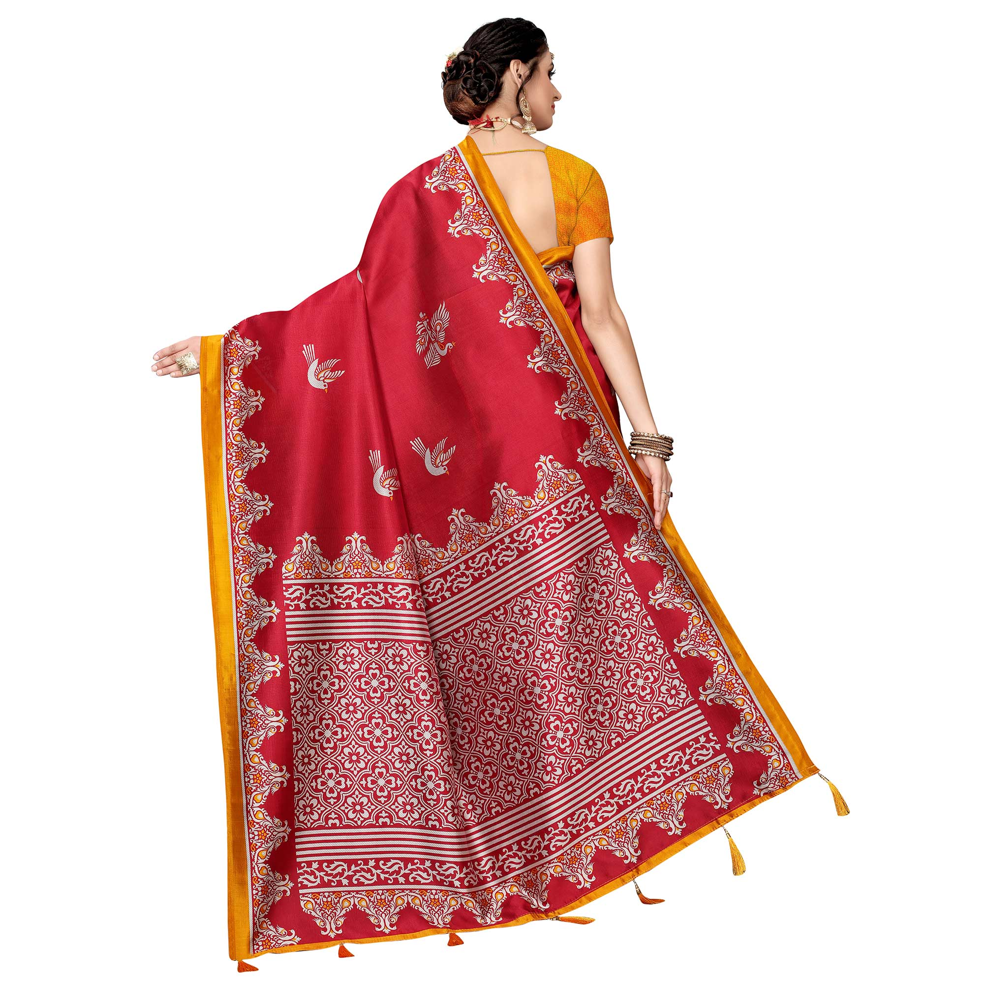 Demanding Red Colored Festive Wear Printed Art Silk Saree