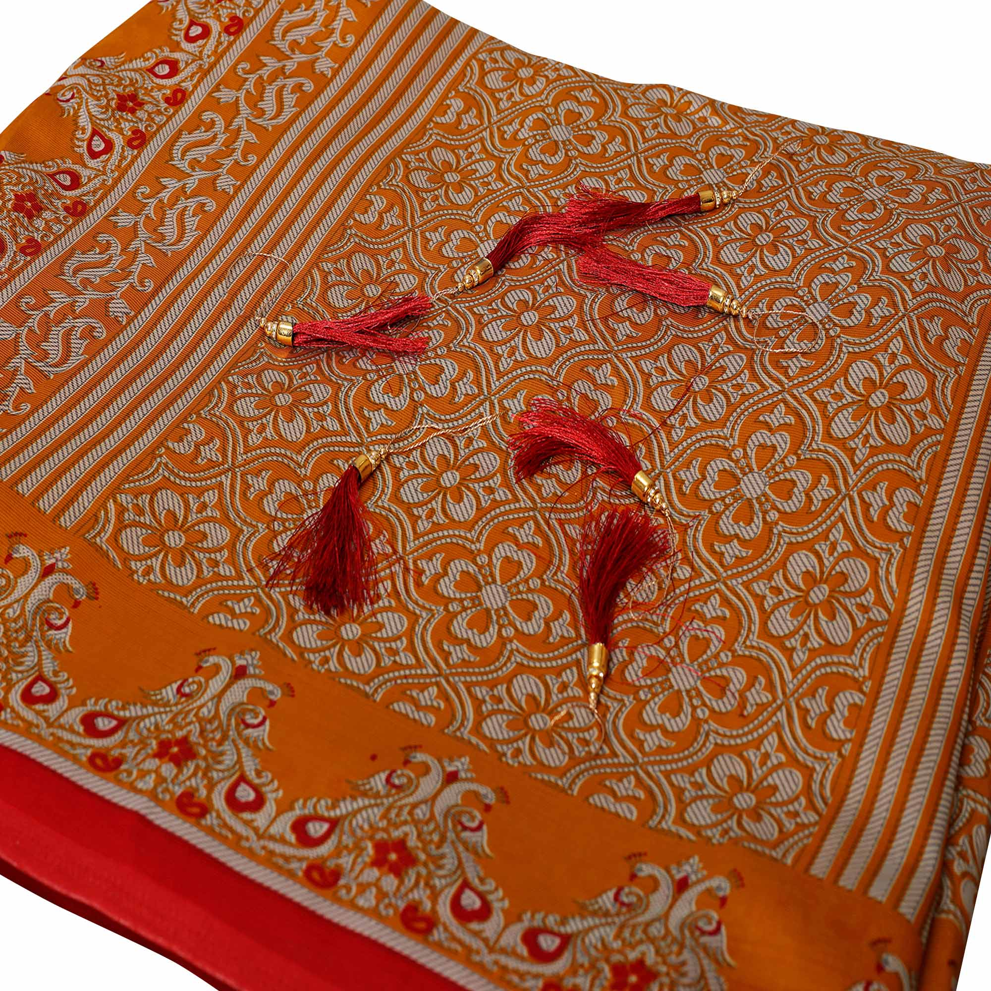 Refreshing Orange Colored Festive Wear Printed Art Silk Saree