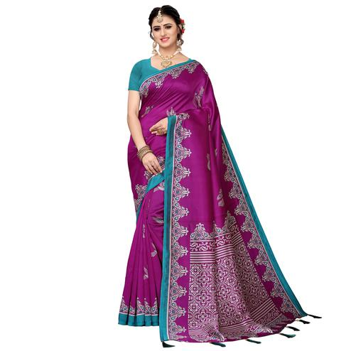 Magnetic Purple Colored Festive Wear Printed Art Silk Saree