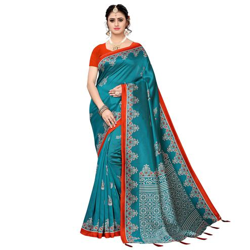 Hypnotic Rama Blue Colored Festive Wear Printed Art Silk Saree