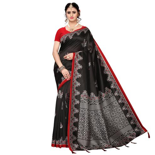 Flattering Black Colored Festive Wear Printed Art Silk Saree