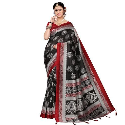 Excellent Black Colored Festive Wear Printed Art Silk Saree