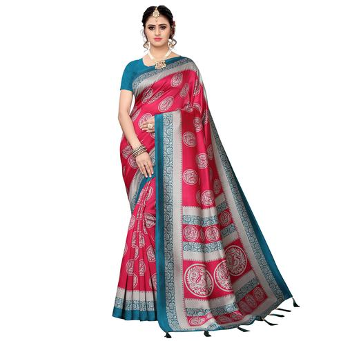 Preferable Pink Colored Festive Wear Printed Art Silk Saree