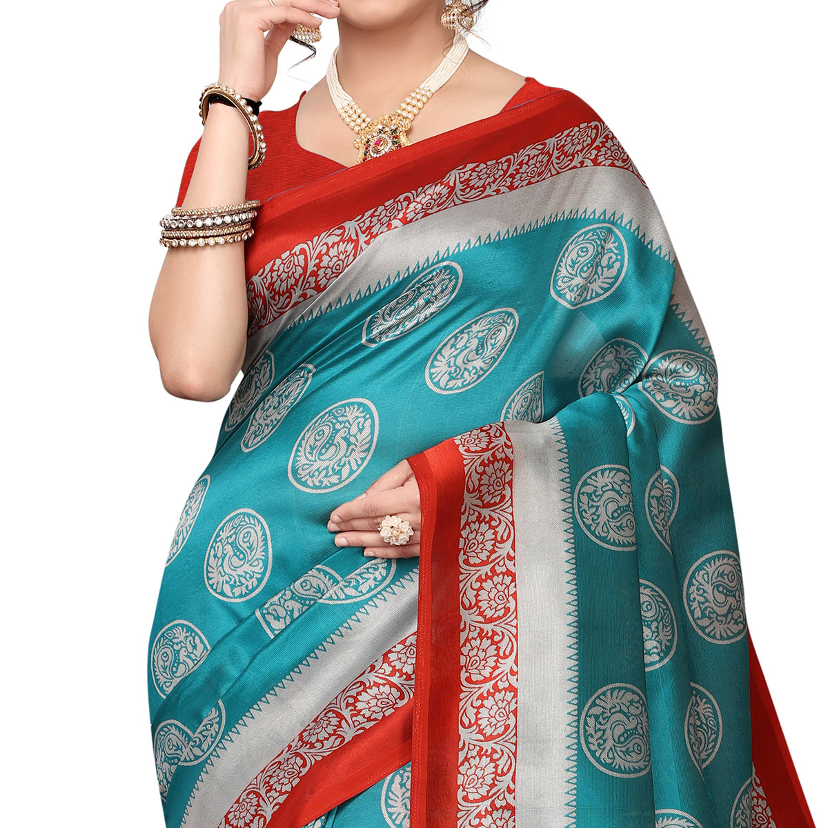 Marvellous Blue Colored Festive Wear Printed Art Silk Saree