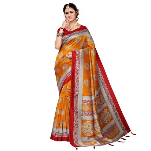 Flamboyant Orange Colored Festive Wear Printed Art Silk Saree