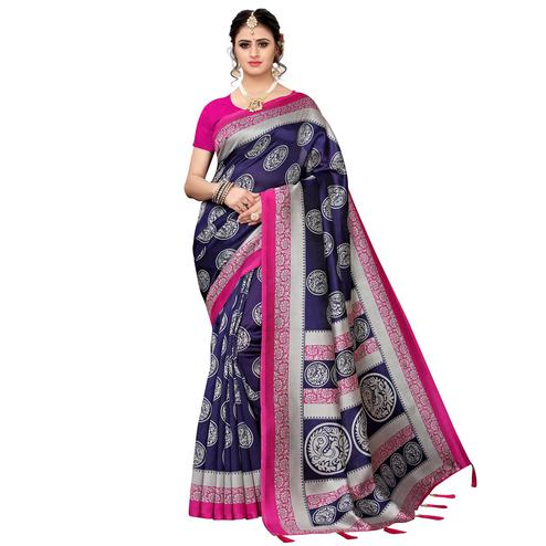 Breathtaking Navy Blue Colored Festive Wear Printed Art Silk Saree