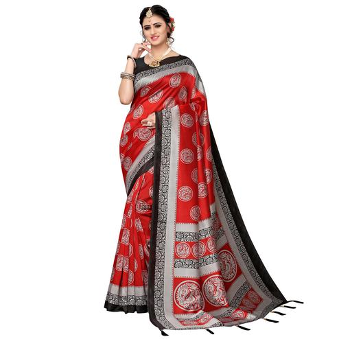 Pleasance Red Colored Festive Wear Printed Art Silk Saree